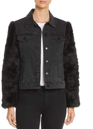 Velvet Heart Mona Faux-Fur-Sleeve Denim Jacket