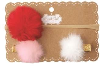 Mud Pie Holiday Puff Headband and Hair Clip Set