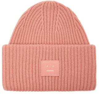 Acne Studios Pansy N Face Ribbed Knit Wool Beanie Hat - Womens - Pink