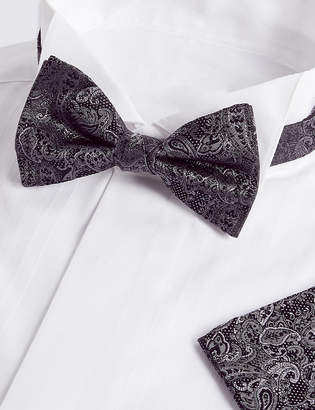 934aa1d280e3 M&S CollectionMarks and Spencer Pure Silk Paisley Bow Tie & Pocket Square  Set