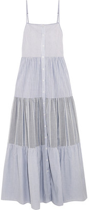 SEA - Tiered Striped Cotton-poplin Maxi Dress - Sky blue $460 thestylecure.com