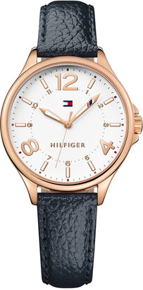 Tommy Hilfiger Women's Table Black Leather Strap Watch 36mm 1781718 $65 thestylecure.com
