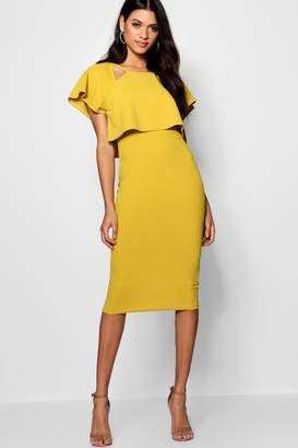 boohoo Naomi Formal Frill Double Layer Midi Dress