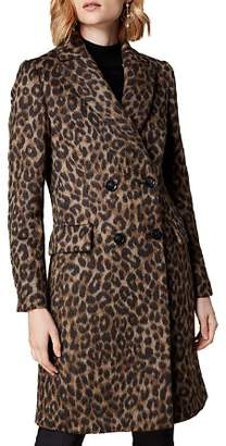 Karen Millen Double-Breasted Leopard-Print Coat