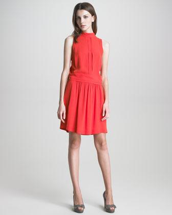 See by Chloe Mock-Neck Drop-Waist Dress