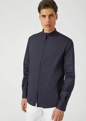 Emporio Armani Slim Fit Stretch Twill Shirt With Full Zip Collar
