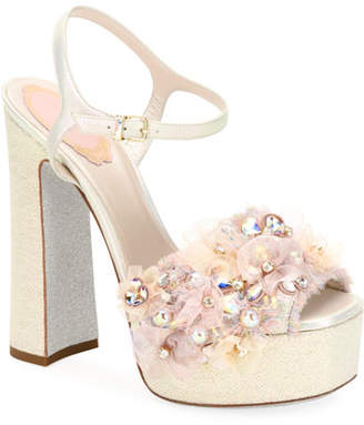 Rene Caovilla Embellished High Platform Sandals