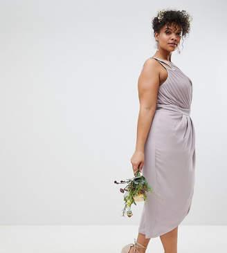 Asos Tfnc Plus TFNC Plus Wrap Embellished Midi Bridesmaid Dress