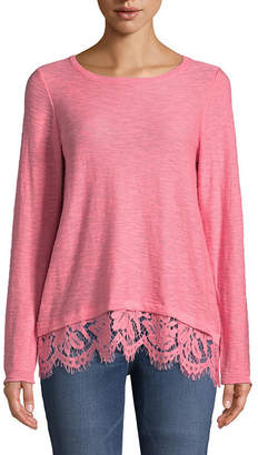 John Paul Richard JOHNPAULRICHARD Long Sleeve Lace Trim Pullover Sweater