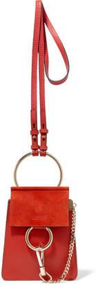 Chloé Faye Bracelet Leather And Suede Shoulder Bag - Red