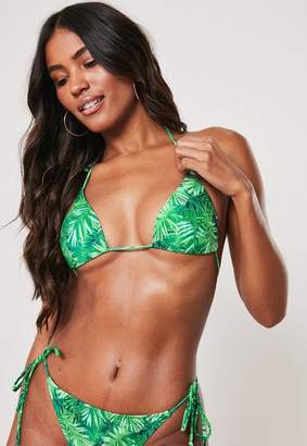 Missguided Premium Green Palm Print Mix And Match Triangle Bikini Top