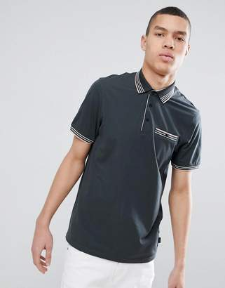 Ted Baker Polo Shirt In Gray With Stripe Tipping