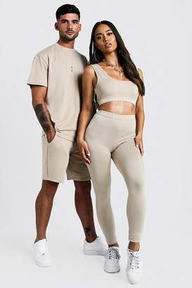 boohoo His Loose Fit Embroidered Neck T-Shirt & Short Set