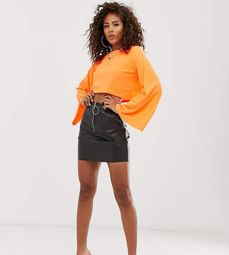 Missguided Tall faux leather mini skirt with o-ring in black