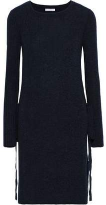 See by Chloe Tie-Detailed Mélange Ribbed Wool Tunic
