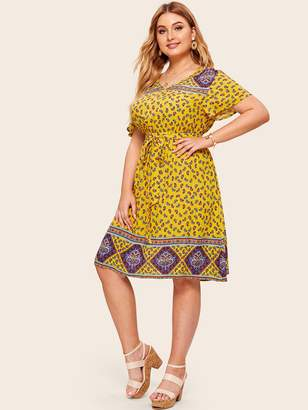 Shein Plus Paisley Print Self Belted Dress