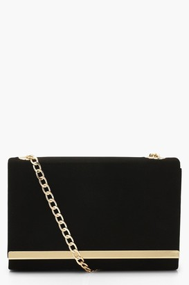 boohoo Structured Suedette Clutch Bag and Chain