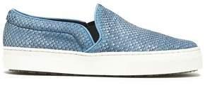 Schutz Snake-Effect Leather Slip-On Sneakers