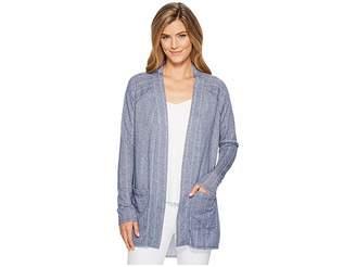 Mod-o-doc Pointelle Stripe French Terry Raglan Sleeve Cardigan Women's Sweater