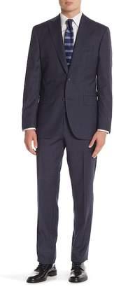 David Donahue Navy Plaid Two Button Notch Lapel Classic Fit Suit
