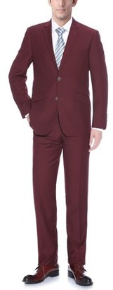 Verno Big Men's Burgundy Slim Fit Suit