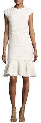 Rebecca Taylor Sparkle Cap-Sleeve Tweed Dress, Neutral $395 thestylecure.com