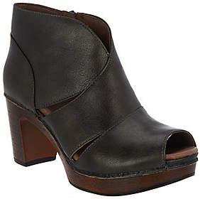 Dansko Leather Peep-toe Booties - Delphina