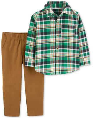 Carter's Baby Boys Plaid Cotton Shirt & Pants Set