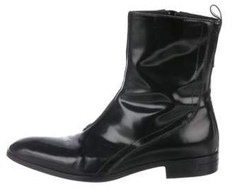 Versace Patent-Leather Ankle Boots