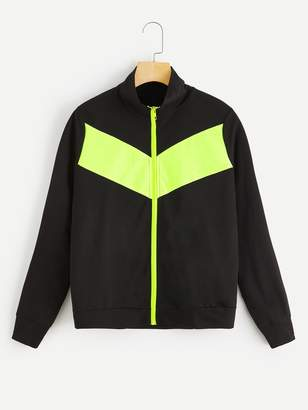 Shein Zip Up Color-block Sweatshirt