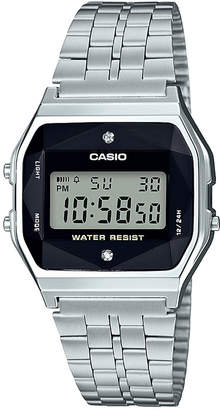 Casio G-Shock Unisex Digital Vintage Diamond (1/10 ct. t.w.) Stainless Steel Bracelet Watch 37mm, Created for Macy's