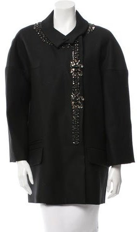 Chloé Chloé Embellished Wool-Blend Coat