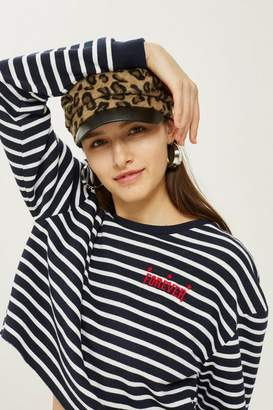 Topshop 'forever' striped crew neck sweatshirt