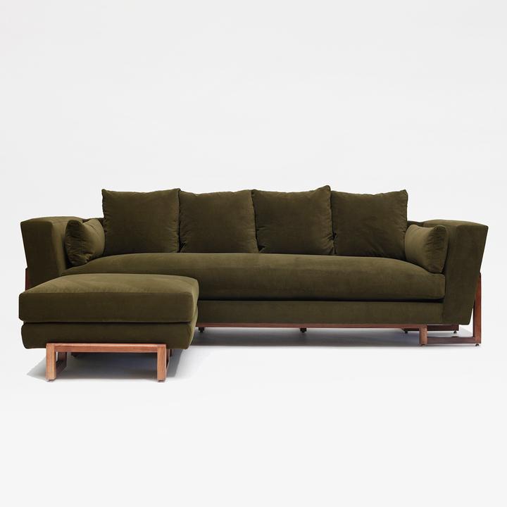 Artless LRG Sofa & Ottoman Forest Velvet