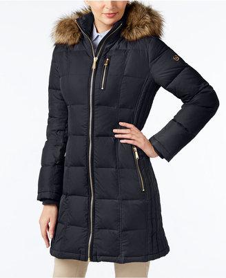 MICHAEL Michael Kors Faux-Fur-Trim Hooded Down Puffer Coat $330 thestylecure.com