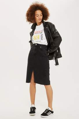 Topshop Black Midi Denim Skirt