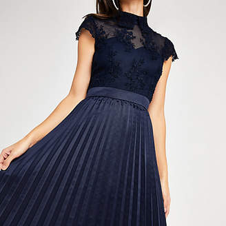 River Island Chi Chi London navy lace pleated prom dress