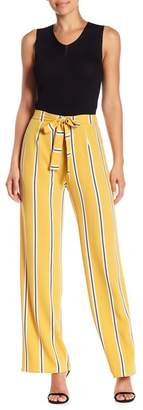 Blvd Waist Tie Wide Leg Stripe Print Pants