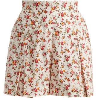 Emilia Wickstead Leslie Floral Print Cotton Shorts - Womens - Yellow Print
