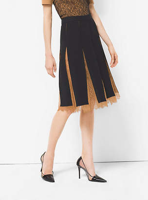 Michael Kors Double Crepe-Sable And Chantilly Lace Slashed Skirt