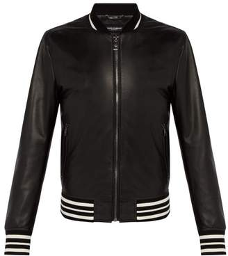 Dolce & Gabbana Black Leather Varsity Jacket - Mens - Black