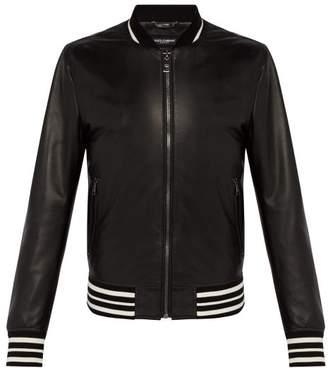 Dolce & Gabbana Black Leather Varsity Jacket - Mens - Black