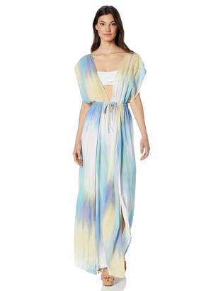 BCBGMAXAZRIA Womens It's A Wash Overlap Maxi Dress Cover-Up Multi SM