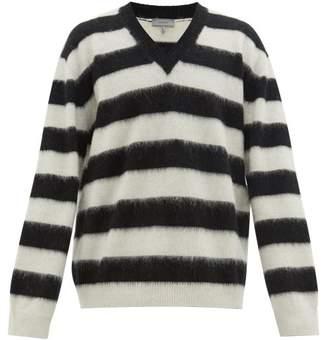 Lanvin V Neck Striped Wool Sweater - Mens - Black White