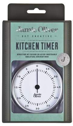 Jamie Oliver Stainless Steel Magnetic Kitchen Timer with Manual Wind Up and Loud Ring Stainless Steel