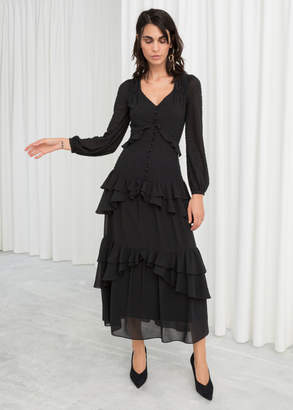 And other stories Beaded Ruffle Midi Dress