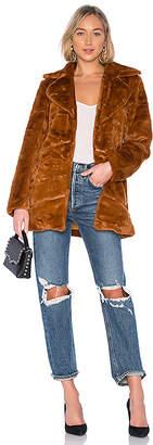 MinkPink Pumpkin Spice Faux Fur Coat