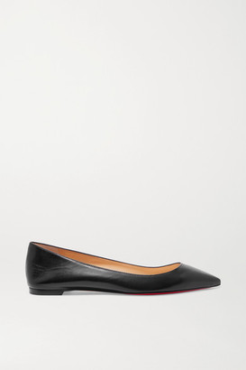 Christian Louboutin Ballalla Leather Point-toe Flats - Black