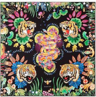 Gucci Tigers and Kingsnake print silk scarf