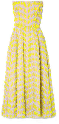 Strapless Embroidered Organza Midi Dress - Yellow